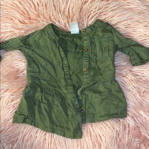 babygirl button up army green shirt - 12m